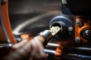 coffee in roasting sample trowel