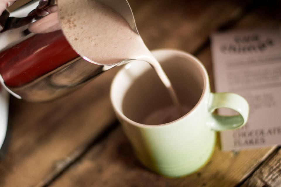 Hot Chocolate being poured into a mug