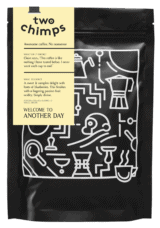 a cut out bag of welcome to another day ethiopian coffee from two chimps coffee