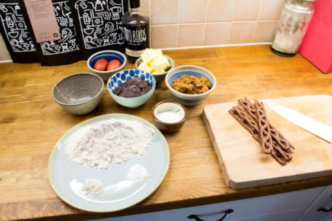 ingredients laid out on the kitchen side for espresso martini icecream and cookies