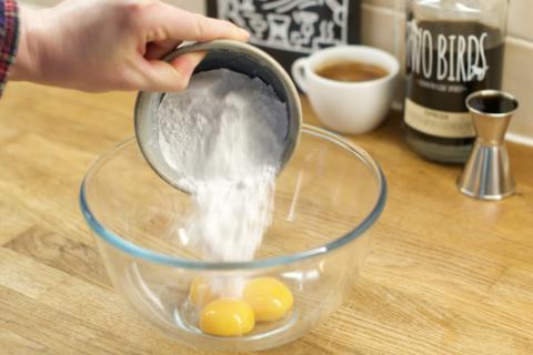 Mixing the Tiramisu ingredients