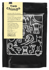 two chimps new rwandan coffee png of bag and label