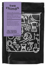 the waving goldfish decaf bag PNG - two chimps coffee