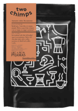 png image of a bag of single origin medium dark roasted coffee by two chimps coffee
